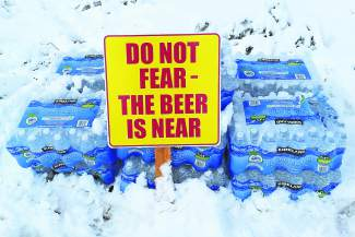 A reassuring sign at the Great Ski Race finish.