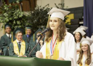 Incline High class of 2015 salutatorian Alex Resney speech elicited several laughs from the crowd.