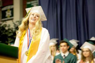 Incline High class of 2015 valedictorian Caroline Parkhill's graduation speech emphasized the importance of helping others less fortunate in one's life.