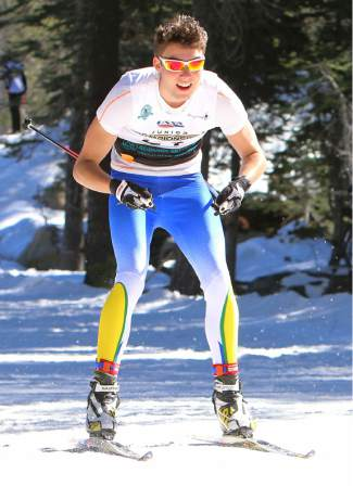 Julien Bordes of Far West Nordic races in a sprint heat at Junior Nationals on Monday.