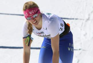 Far West Nordic's Savannah Blide recovers after finishing a sprint heat on Monday.