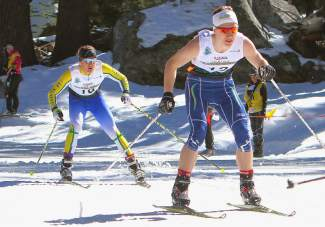 Far West Nordic's Sam Zabell (trailing) of the Sugar Bowl Academy competes in a sprint heat at Auburn Ski Club on Monday.