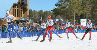 Skiers compete in the U20 men's sprint final at Auburn Ski Club on Monday. Karsten Hokanson, wearing bib 3, took the win.