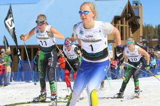 Far West Nordic's Hannah Halvorsen breezes through one of her sprint heats en route to a second-place finish at Junior Nationals on Monday.