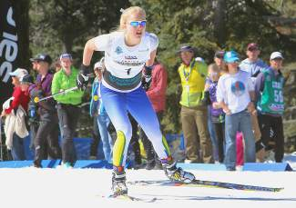 Hannah Halvorsen of Far West Nordic nears the finish line during one of her sprint heats Monday. Halvorsen finished second overall.