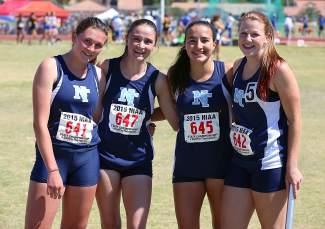 The Laker girls 4 x 200 team: Valencia Covell, Allison Wright, Sara Trimm and Allie Doyle.