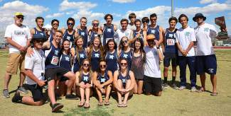 The North Tahoe track and field team gathers for a group shot at the state championship meet in Las Vegas.