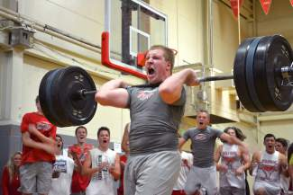 Truckee junior football player Erik Swalander power lifts 315 pounds — a school record — during the Wolverines' annual lift-a-thon fundraiser on Wednesday.