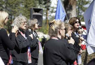 During Monday morning's ceremony, the Mountain Belles sang a medley of patriotic songs.