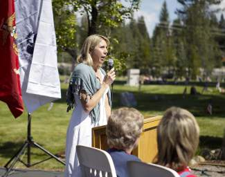 Truckee Mayor Alicia Barr was among several who gave speeches, touching on the importance of Memorial Day.