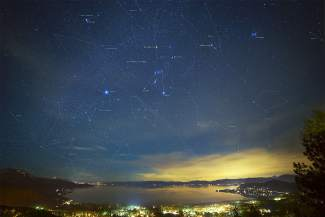 Web developer by day and landscape photographer by night, Phil Mosby is introducing a new collection of star-studded photographs on Wednesday, April 22, that incorporate constellation maps drawn onto his images using Photoshop.