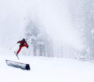 A skier jumps for joy at the opening of Mt. Rose Ski Tahoe last week. When it comes to skiing or riding terrain parks, extra care and conditioning is key to avoiding injuries, especially when hitting jumps and boxes.