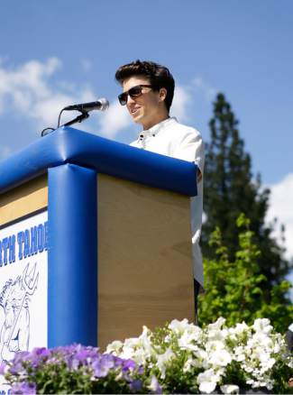 Jordan Basile, founder of TahoeMade Attire and member of the North Tahoe High School class of 2005, served as the keynote speaker at North Tahoe's graduation ceremony Thursday.