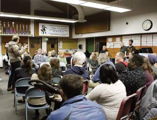 During Saturday's Nevada Democratic caucus at Incline Middle School, roughly 160 voters were on hand.