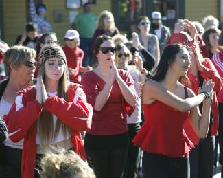 """Participants wore red, reflecting that the """"Break the Chain"""" performance  took place on Valentine's Day."""