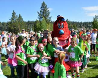 Archie, the Reno Aces' mascot, was a hit at the Truckee Running Festival, which included a fundraising run for Girls on the Run Sierras.
