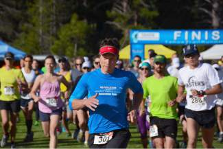 Donatas Ereminas of Truckee heads out at the start of the half marathon at the Truckee Running Festival on Saturday. For more photos from the event, go to www.lefrakphotography.com.