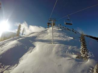 The view from below at Sugar Bowl Resort at Donner Summit, which offers plenty of skiing terrain.