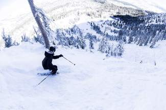 A skier heads down a powder run last week at Mt. Rose.