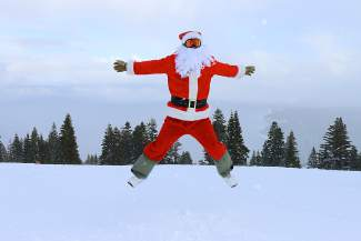 Santa Claus shows his approval from Homewood Mountain Resort.