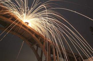 Light Show: Spinning some steel wool on top of Rainbow Bridge.