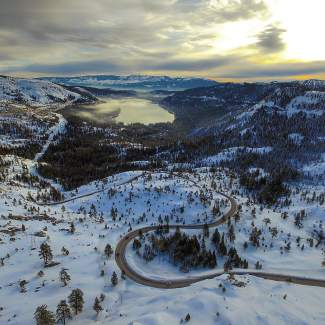 Donner by Drone: Old Highway 40 and Donner Lake are pictured from above.
