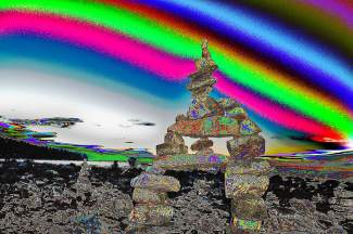 Psychedelia: A stack of rocks in Kings Beach receive on an artsy twist.