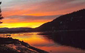 Dawn Delight: A colorful sunrise paints Donner Lake on Feb. 28.