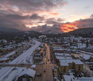 Sunset by Drone: A fiery sunset and downtown Truckee are pictured from above Monday.