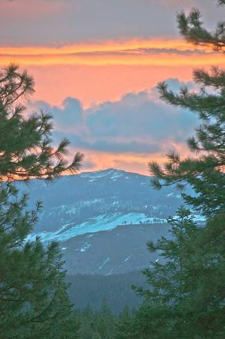Orange Crush: A spectacular sunrise over Snowflower Peak.