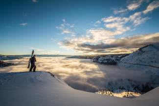 Last Turns: A skier takes in the view from Donner Summit.