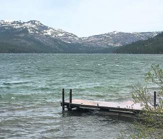 The waves were churning on Donner Lake on May 19 as a wintry storm swept into the region.
