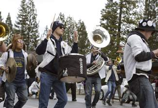 Music filled the main thoroughfare in Tahoe City as the Cal Aggies Marching Band-Uh! played in Saturday's SnowFest! parade.