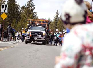 Liberty Utilities' parade float makes its way down Highway 28 in Kings Beach early Saturday afternoon.