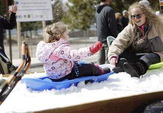 This Kings Beach SnowFest! Parade float demonstrates that sledding and other winter recreation opportunities are available at the North Tahoe Regional Park in Tahoe Vista.