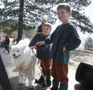 Luna, a Samoyed dog, won Best in Show at SnowFest!'s Dress Up Your Dog contest, representing gold as part of an ensemble involving its owners dressed as leprechauns.
