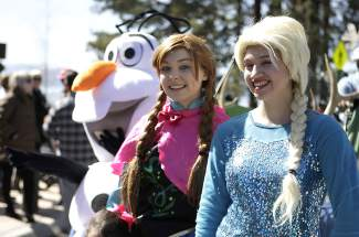 From left, Olaf, Anna and Elsa from Disney's 'Frozen' make an appearance at Saturday's Kings Beach SnowFest! Parade.