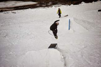 Adrian Rassmusen competes in the slopestyle portion of the 7th Annual Minus 7 Melee.
