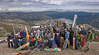 A group of more than 40 snowskaters participated in the 7th Annual Minus 7 Melee at Donner Ski Ranch this past Saturday. The event is put on by snowskate pioneers Kurt and Jill Zapata of Truckee-based Minus 7 Snowskates.