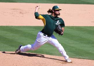 R.J. Alvarez of the Oakland A's fires a pitch during a Spring Training game against the Rangers.