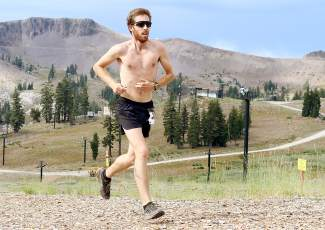 Patrick Parsel of South Lake Tahoe races to a second-place finish in the Squaw Mountain Run on Saturday.