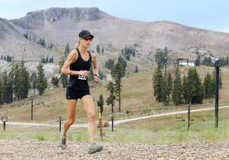 Kristin Walstad of Alta was the top woman and 10th overall in the Squaw Mountain Run on Saturday.