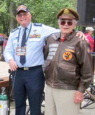 Bob Wheeler, left, and U.S. Air Force First Lt. Harry Van Delinder (ret.) were among veterans honored at Friday's Veterans Lunch at Aspen Grove as part of the 2015 Red, White and Tahoe Blue festival.