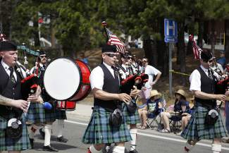 Bagpipers perform in Red, White and Tahoe Blue's Friday parade.
