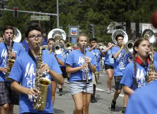 Reno-based McQueen High School band preforms in the Red, White and Tahoe Blue parade.