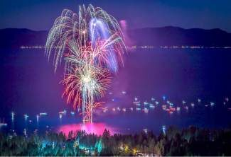 The 2015 Red, White and Tahoe blue fireworks display exploded magestically over Lake Tahoe off the shores of Incline Beach on Saturday night, the Fourth of July.