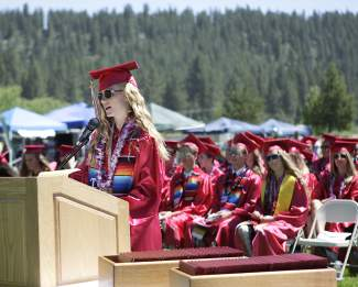 Valedictorian Gabrielle Rinne adresses her fellow Truckee High classmates, advocating to pursue something that they love.