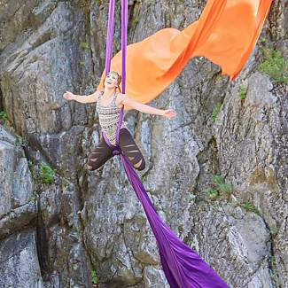 Aerial silks, High Sierra, highlining. Submitted using #TahoeSnaps on Instagram.