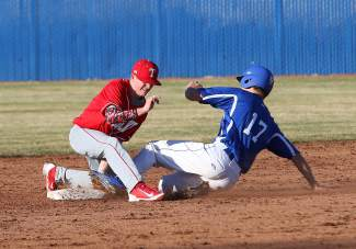 Truckee second baseman Gavin Broad applies the tag on a Carson baserunner during Thursday's game. While the Wolverines went 1-4 in the Mike Bearman Memorial Tournament, head coach J.R. Murphy was encouraged by his team's showing, particularly on offense.