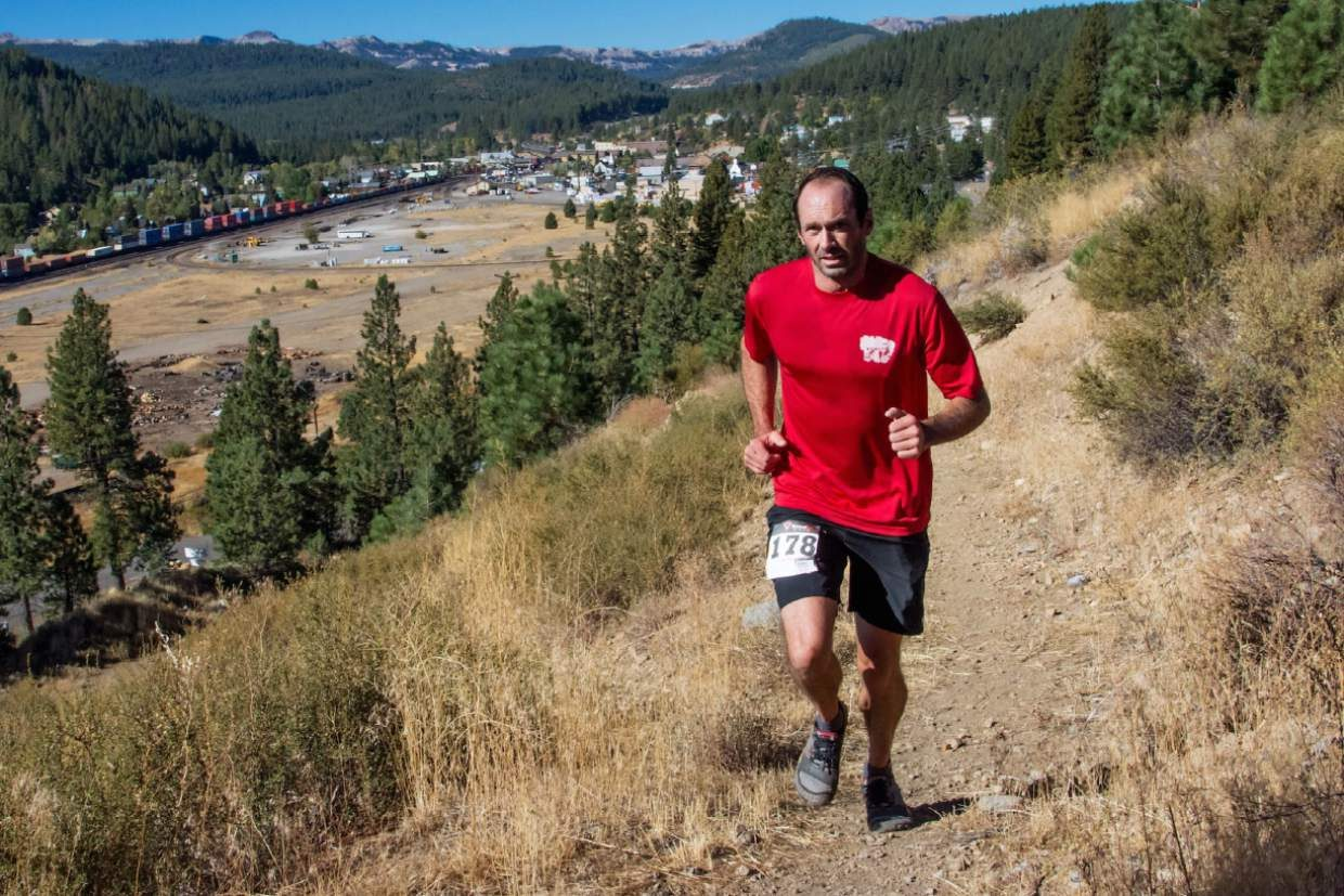 Truckee's Jay Wilsey, who finished second in the marathon, runs along the Glenshire Drive trail